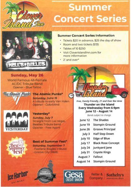 Clover Island 2019 concert series poster