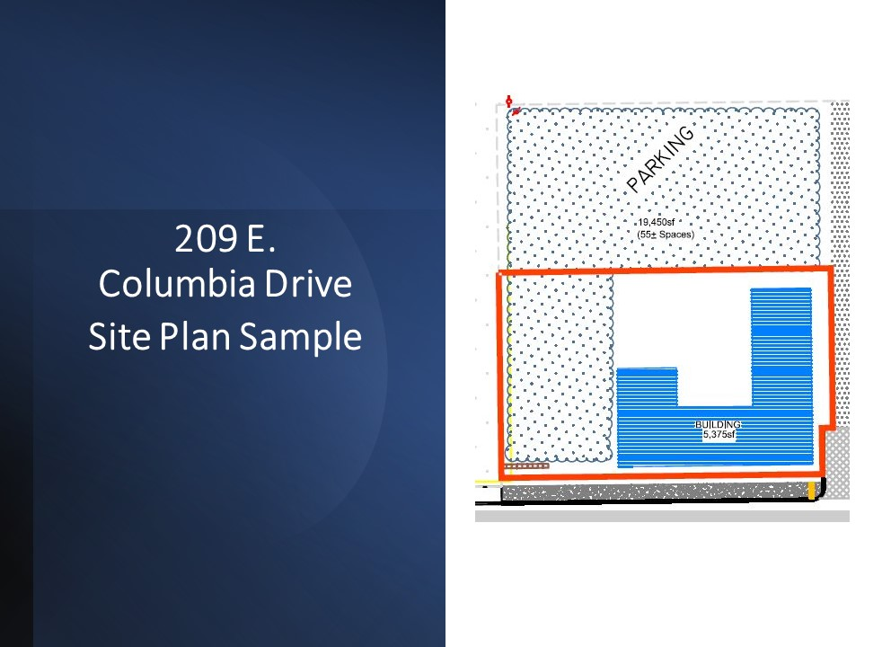 Site plan sample for 209 E. Columbia Gardens Way at Columbia Gardens.
