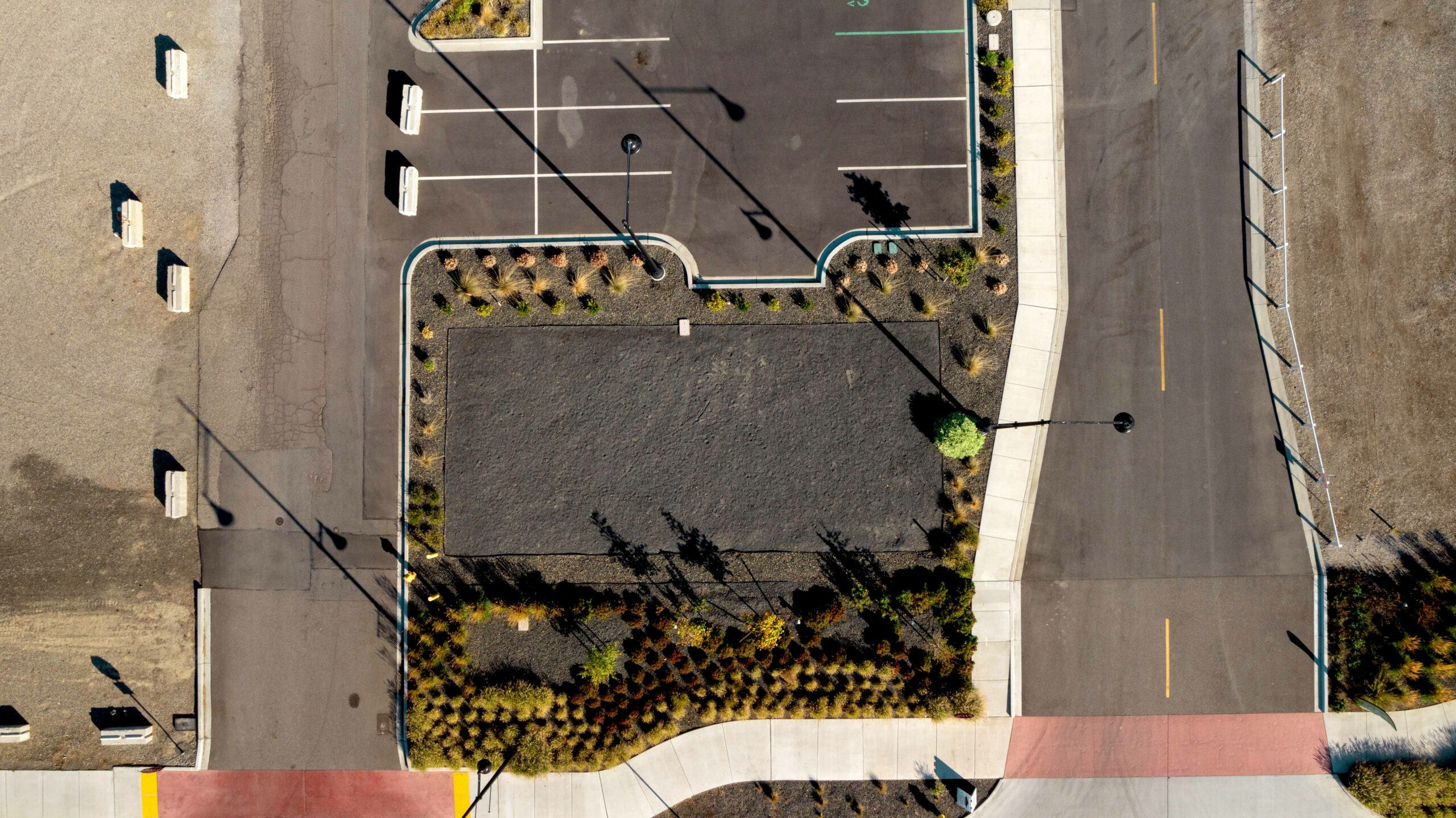 Direct overhead aerial of the 215 E. Columbia Drive parcel at Columbia Gardens.