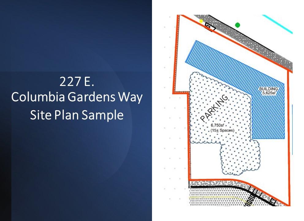 Site plan sample for 227 E. Columbia Gardens Way at Columbia Gardens.