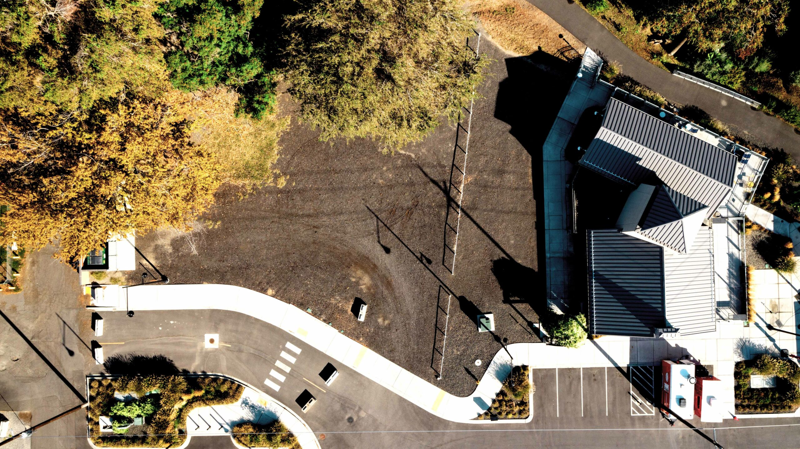 Direct overhead aerial of the 227 and 309 E. Columbia Gardens Way parcels at Columbia Gardens.