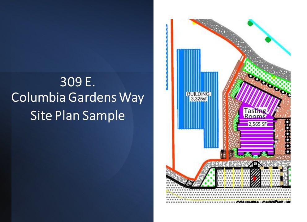 Site plan sample for 309 E. Columbia Gardens Way at Columbia Gardens.