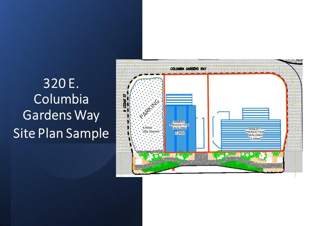Site plan sample for 320 E. Columbia Gardens Way at Columbia Gardens.
