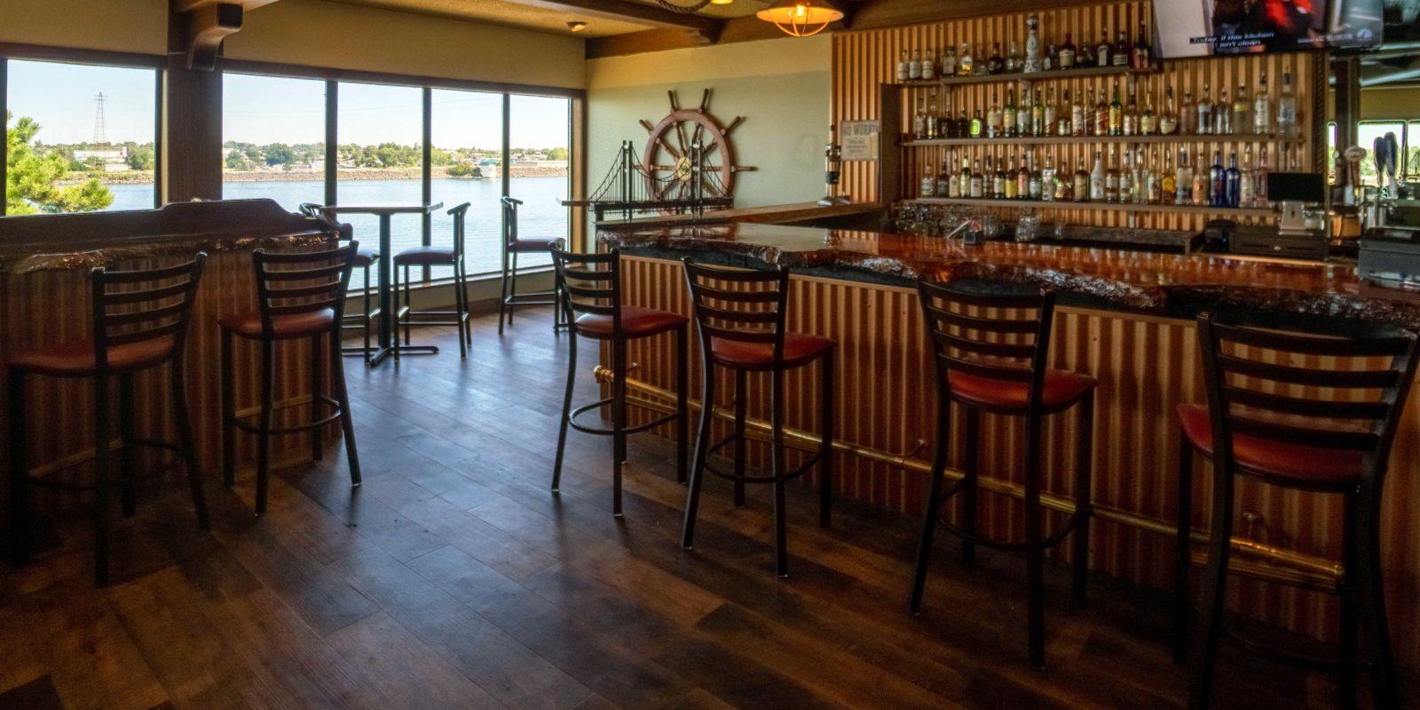 The bar area in Crow's Nest Bar & Grill at Clover Island Inn.