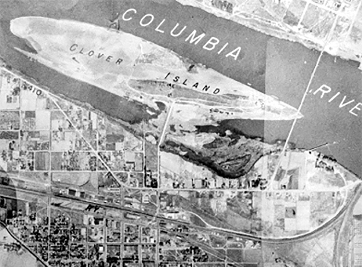Historic Clover Island aerial map.