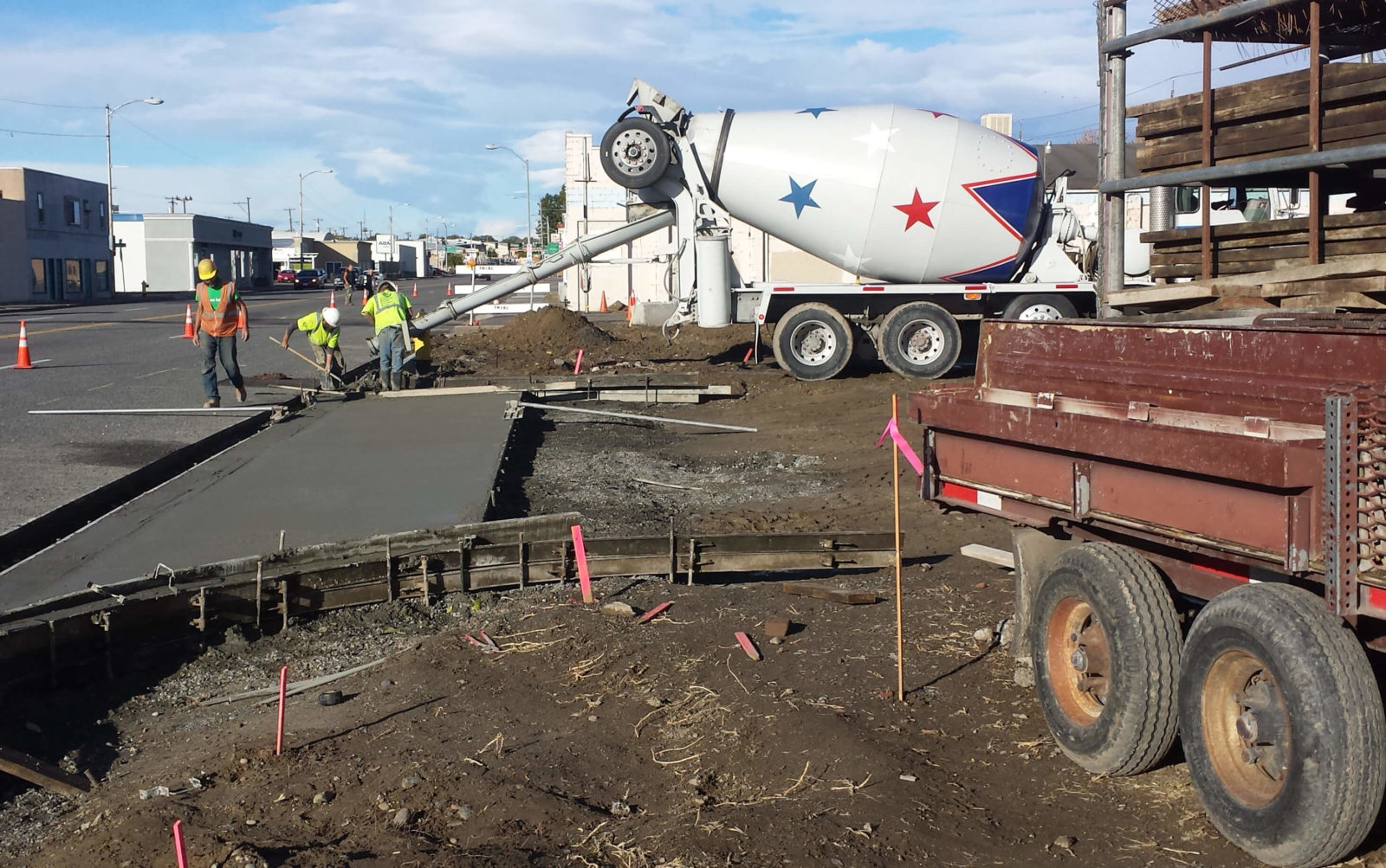 Concrete being poured and formed during Phase 2 construction.