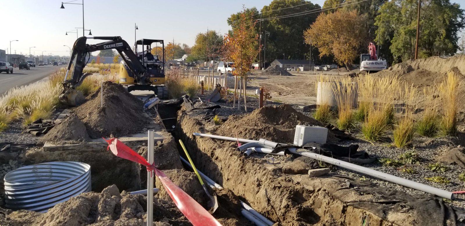 City installs conduit for Columbia Drive pedestrian crossing.