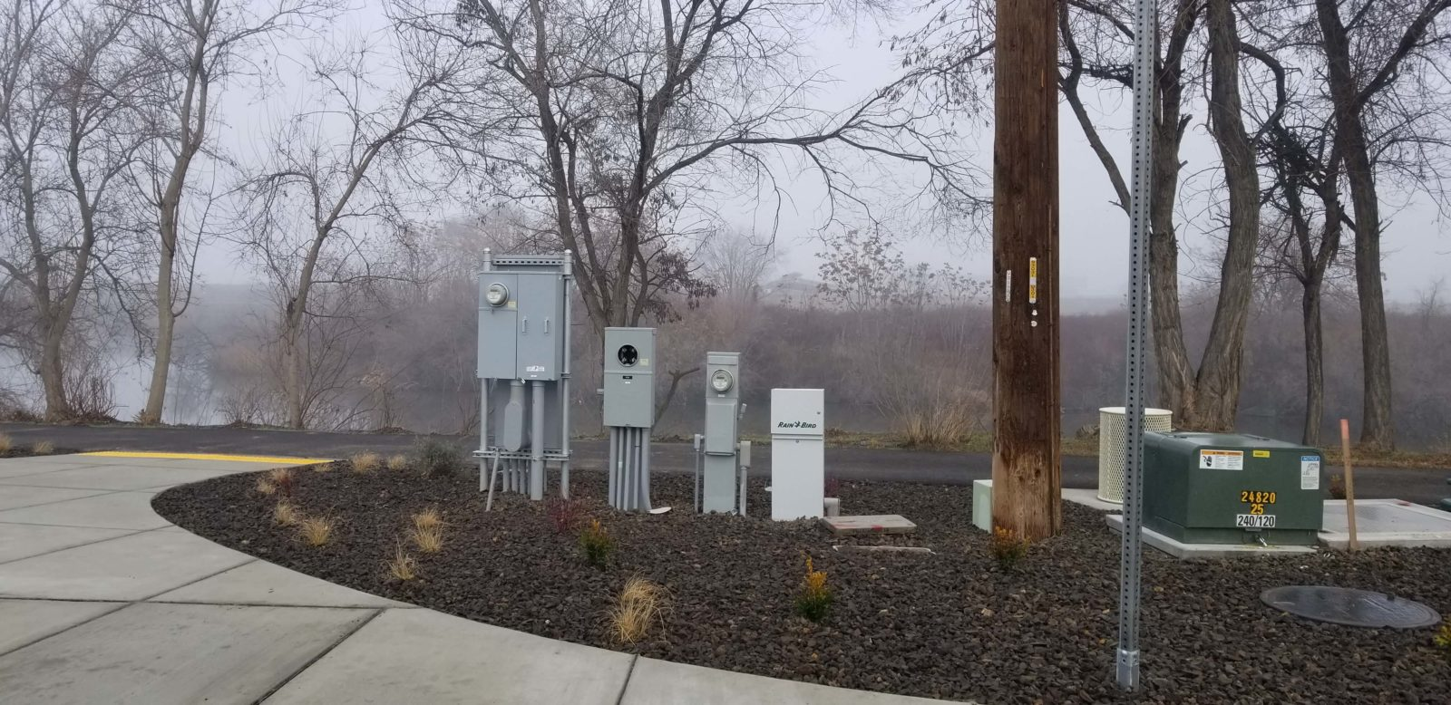 Utility junction boxes installed at Columbia Gardens.