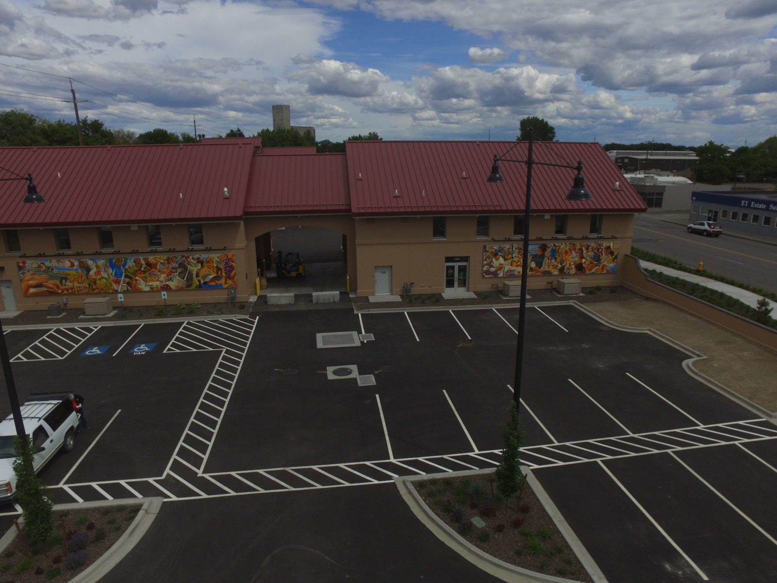 Aerial showing finished Date Street parking and winery buildings.
