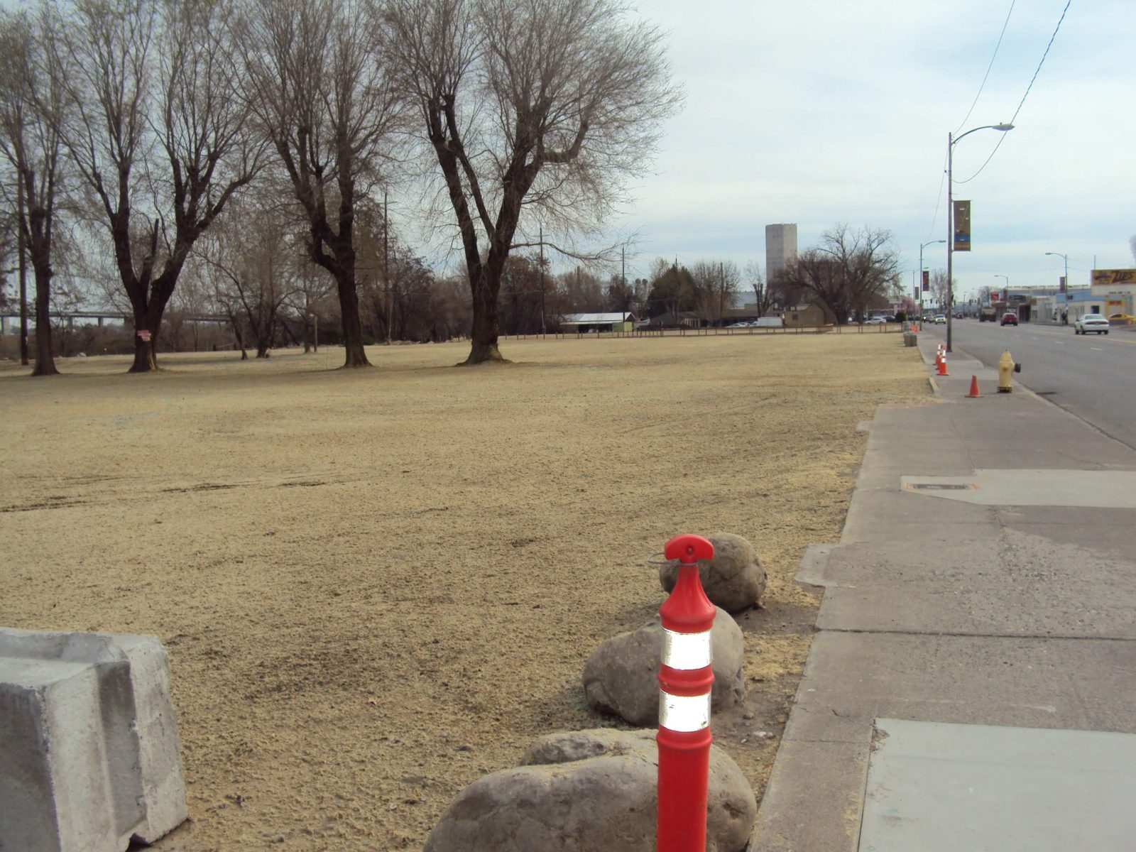 View looking east after utilities installed and site leveled.