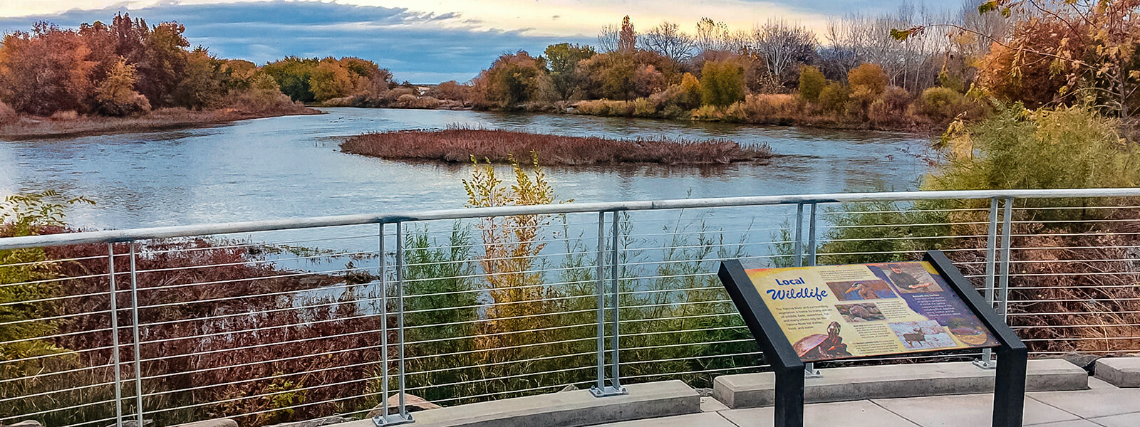 Yakima River Gateway overlook structure and interpretive sign.