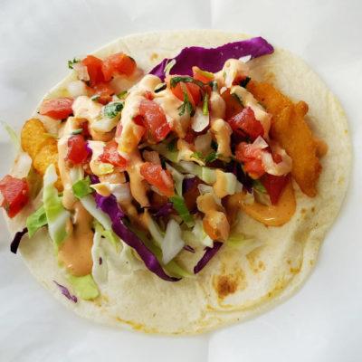 A shrimp taco from Don Taco.