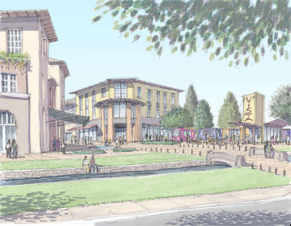 Artist rendition of Vista Field commercial shared streets.