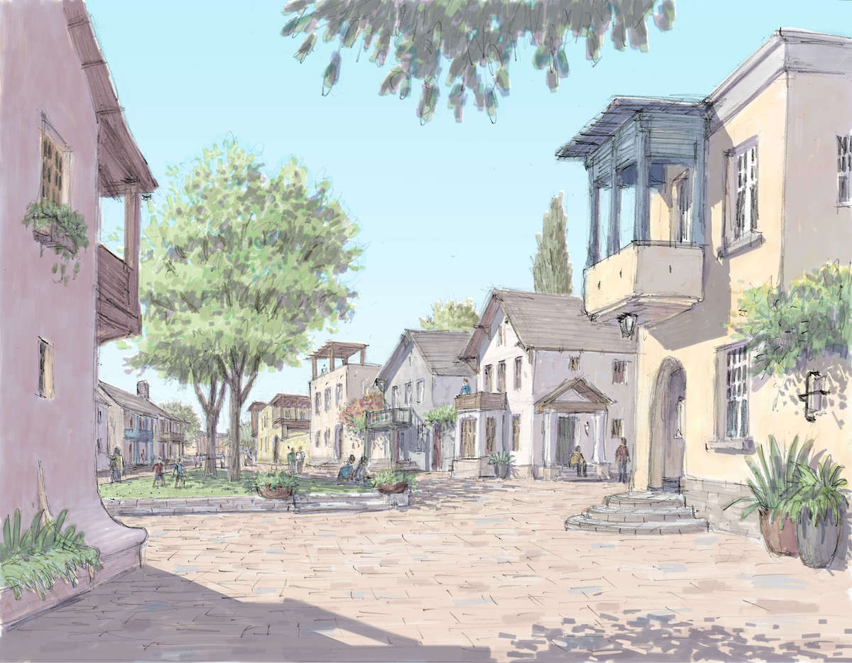 Artist rendition of Vista Field residential shared streets.