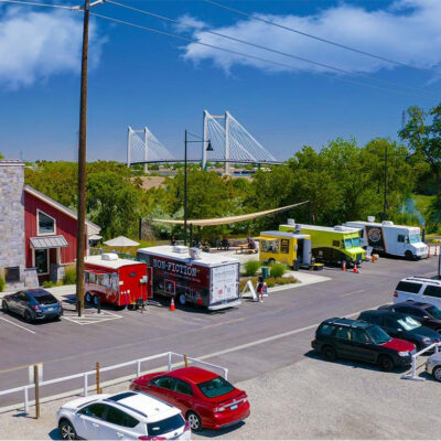Aerial of the Food Truck Plaza at Columbia Gardens.