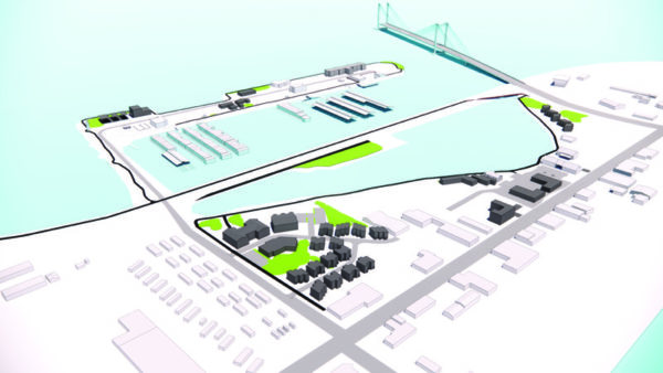 Graphic of the proposed development plan for Kennewick's Historic Waterfront District Master Plan update process.