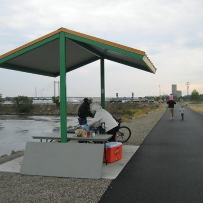Shade structure along the public pathway near Clover Island.