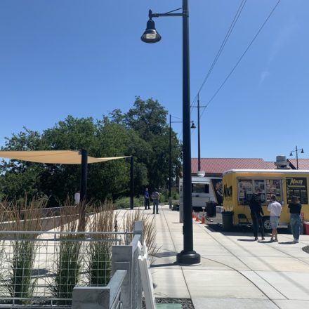Food Truck Plaza vendor spots and shade structure.