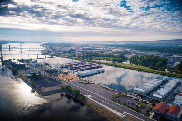 Kennewick Historic Waterfront District aerial.