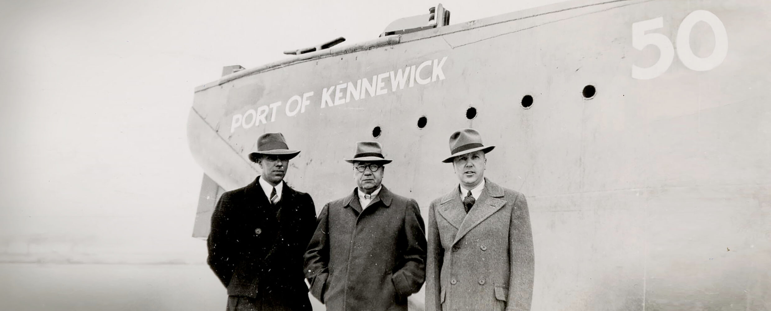 Commissioners attending the Port of Kennewick barge launch ceremony, 1950s.