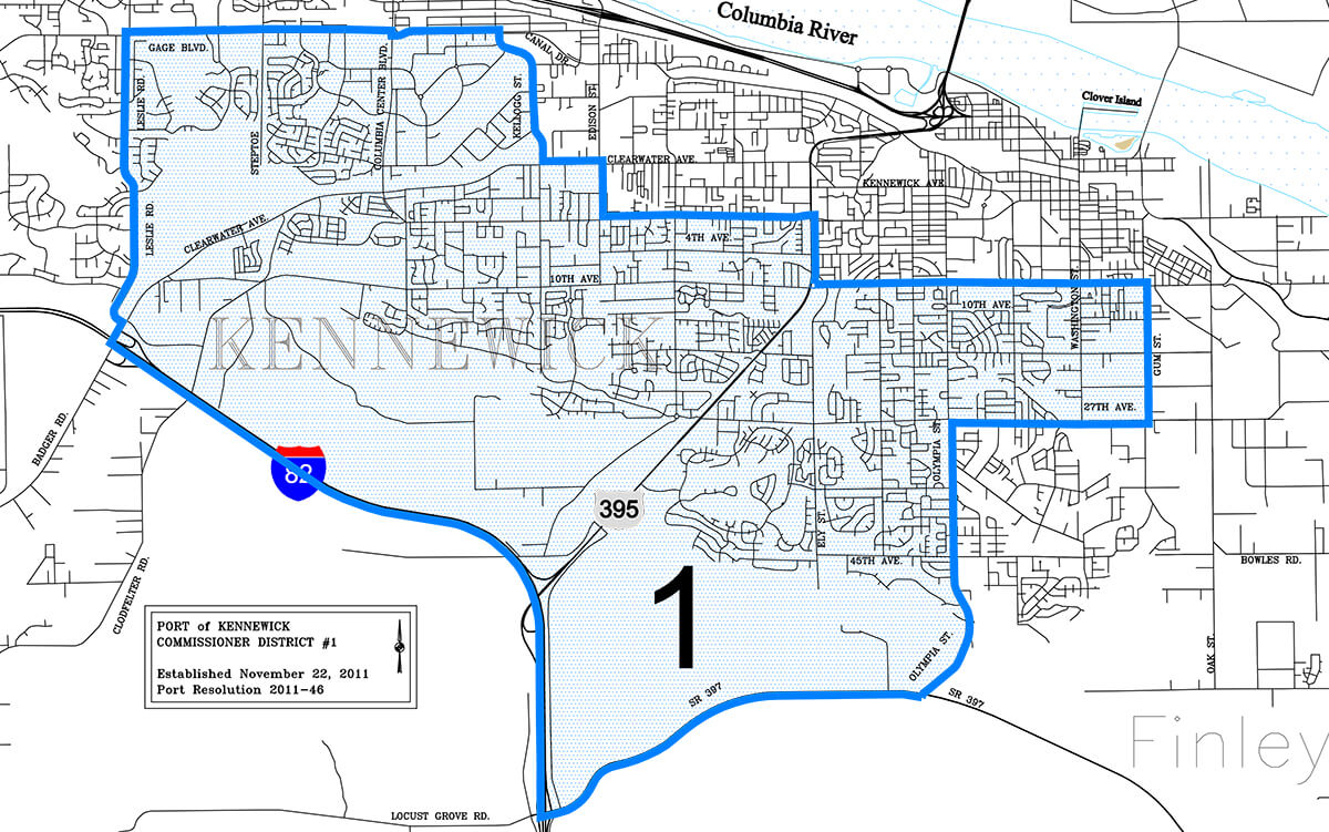 Port of Kennewick District 1 boundaries map.