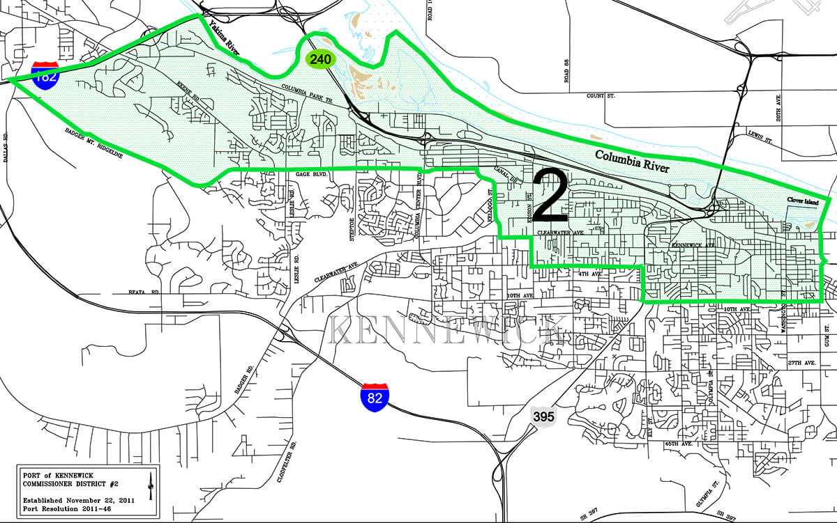 Port of Kennewick District 2 boundaries map.