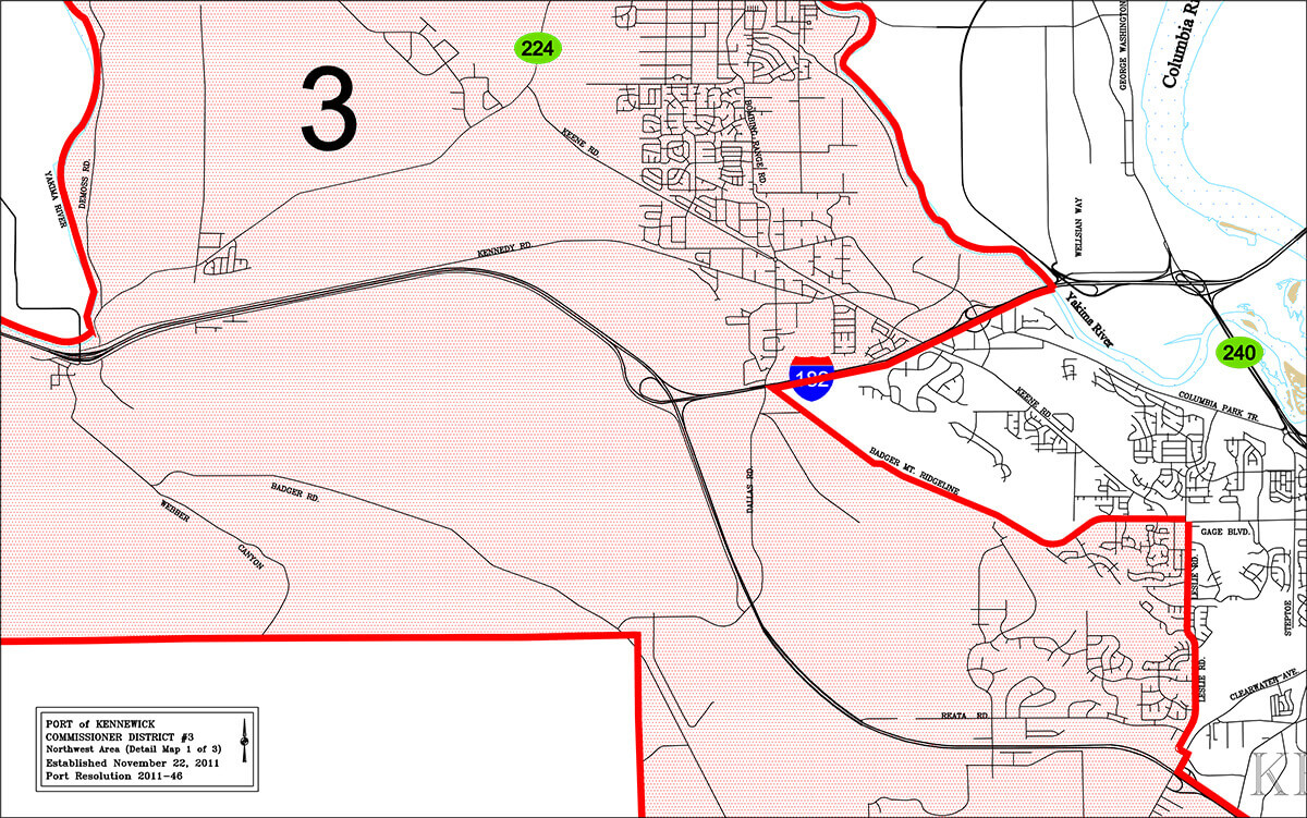 Port of Kennewick District 3 boundaries map.
