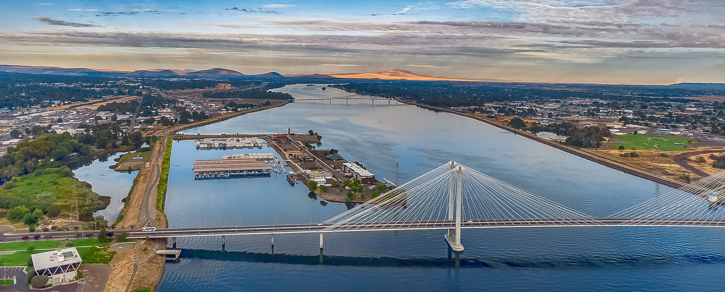 Aerial of Ed Hendler Bridge, Clover Island and surrounding communities.