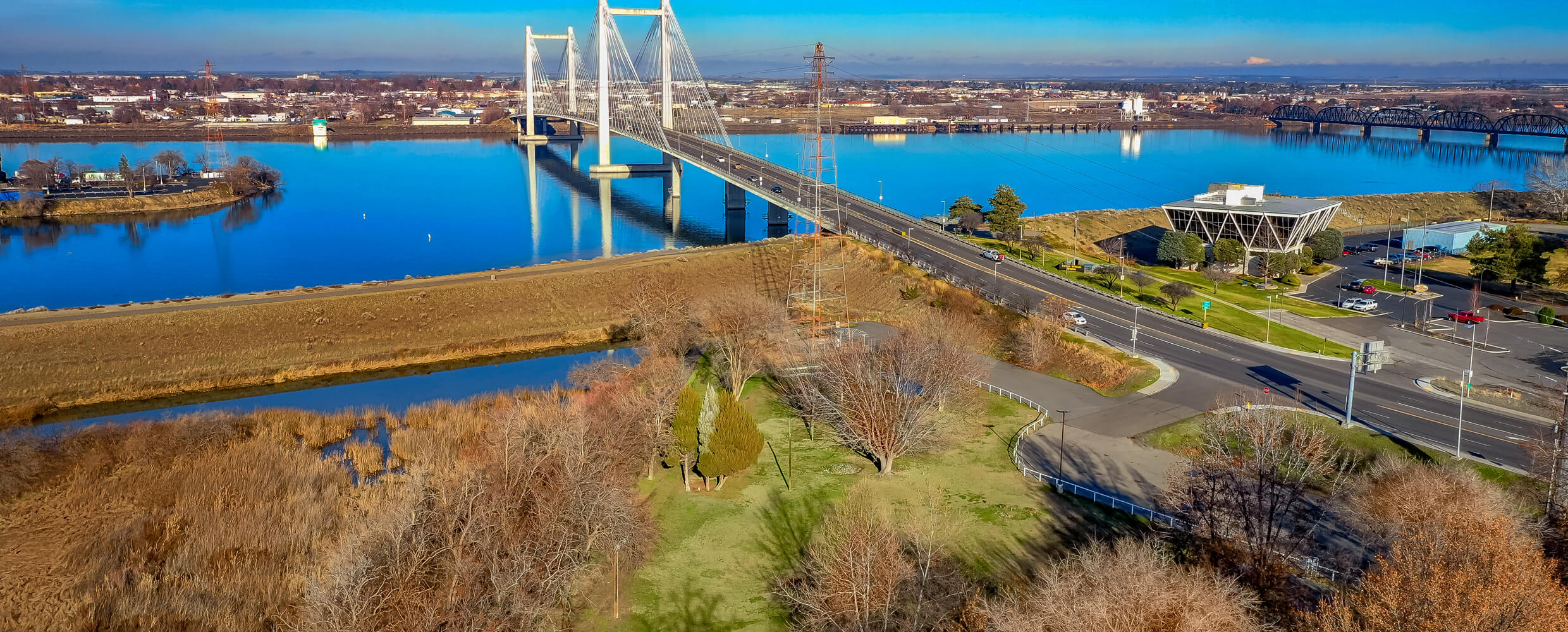 Aerial of Cable Greens site with Ed Hendler Bridge.