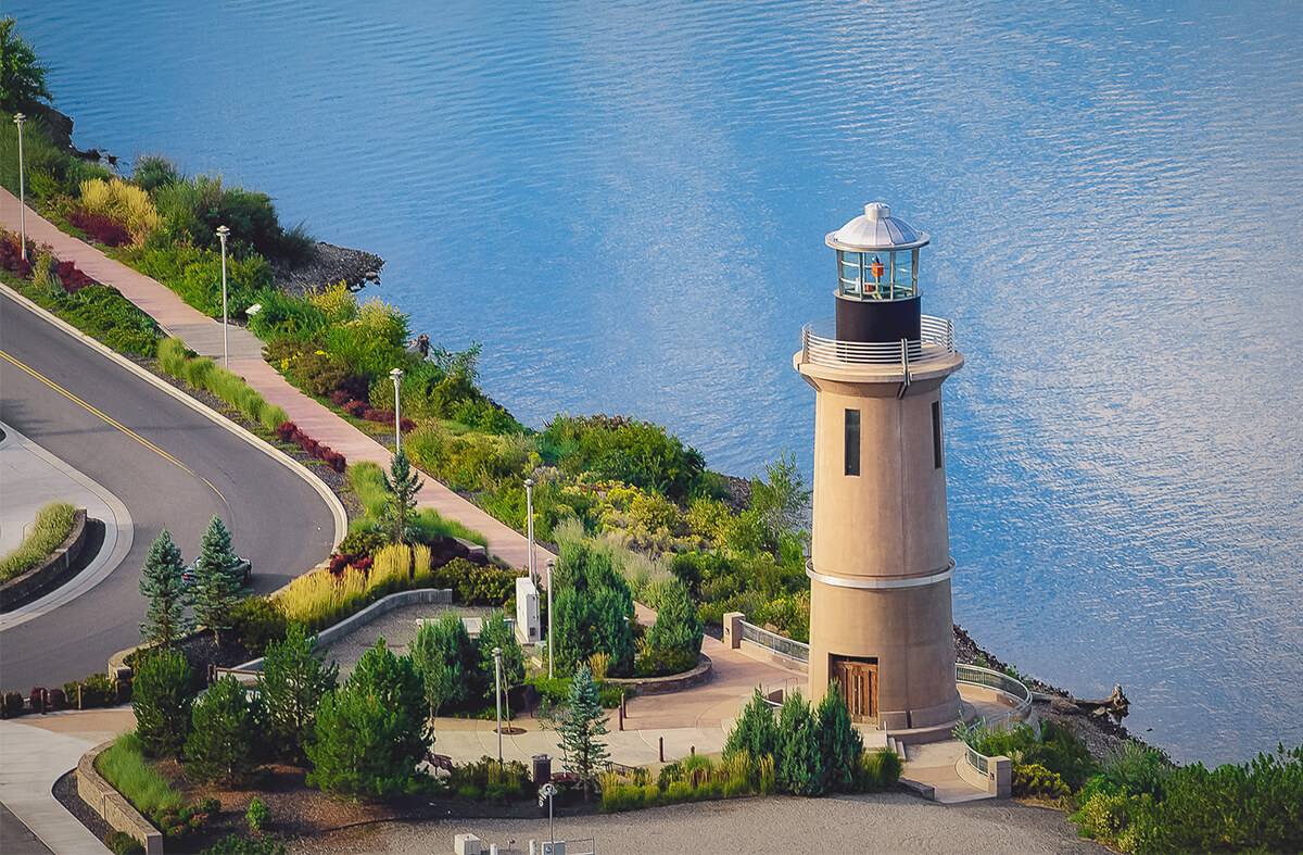 Aerial of the Clover Island Lighthouse and Lighthouse Plaza.