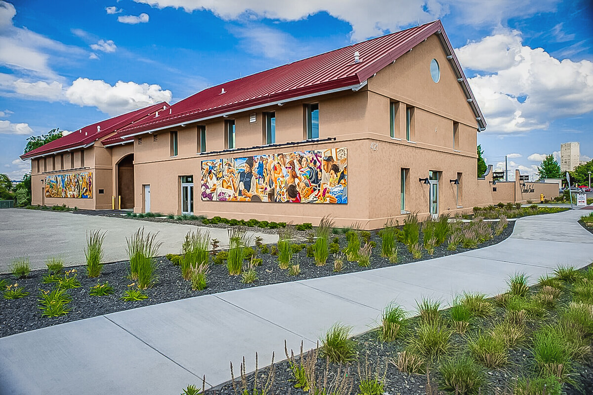 Latino Heritage Mural installed on Columbia Gardens wine buildings.
