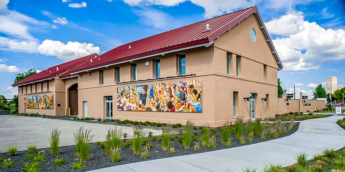 Latino Heritage Mural installed on the Columbia Gardens wine buildings.