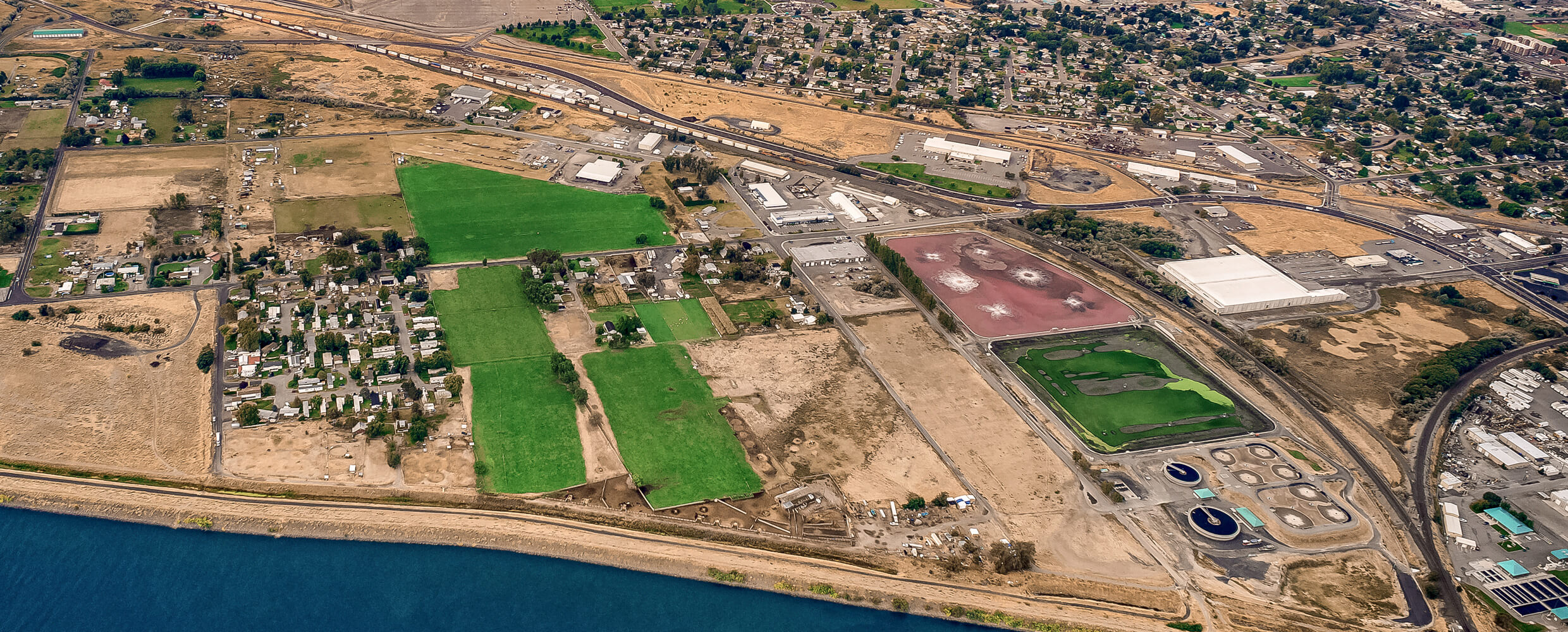Aerial of Oak Street Industrial Park.