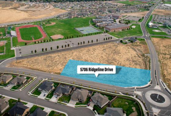 Aerial of Southridge parcel at 5706 Ridgeline Drive.