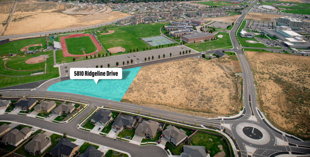 Aerial of Southridge parcel at 5810 Ridgeline Drive.
