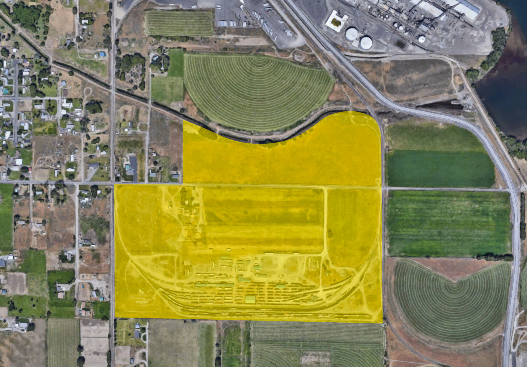 Aerial of Twin Tracks Industrial Park property.