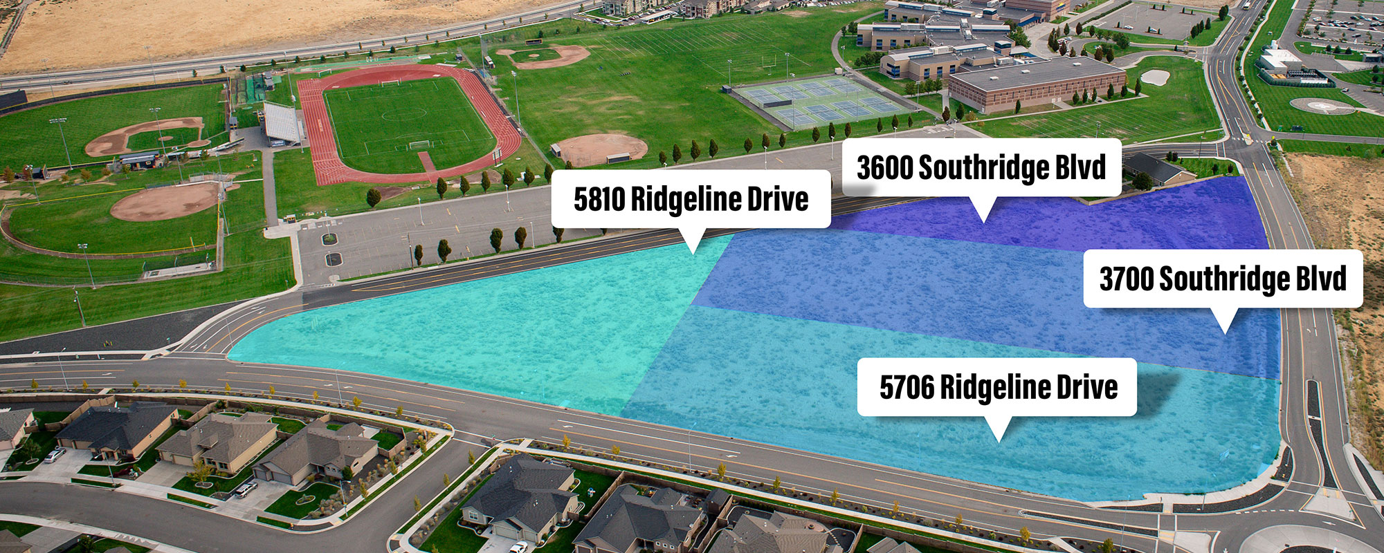 Aerial of Southridge properties for sale with boundary shading.