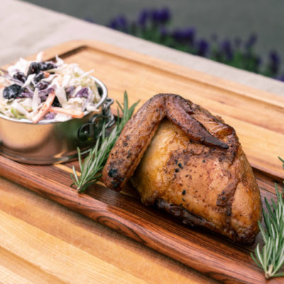 Swampy's BBQ coleslaw with smoked chicken.
