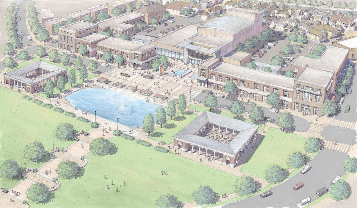 Artist rendition of privately funded Vista Arts Center.