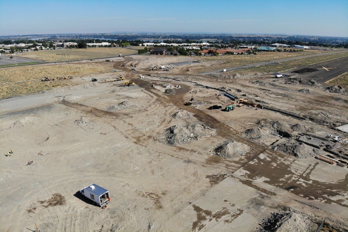 Aerial of Vista Field Phase 1 roads and utilities under construction.