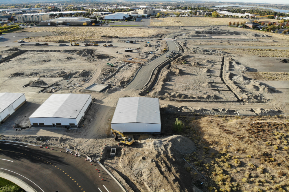Aerial View of Vista Field Phase 1 roadway construction