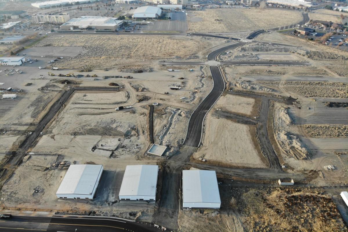 Aerial showing road improvements at Vista Field