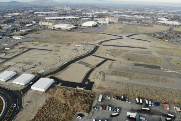 Aerial showing road improvements at Vista Field