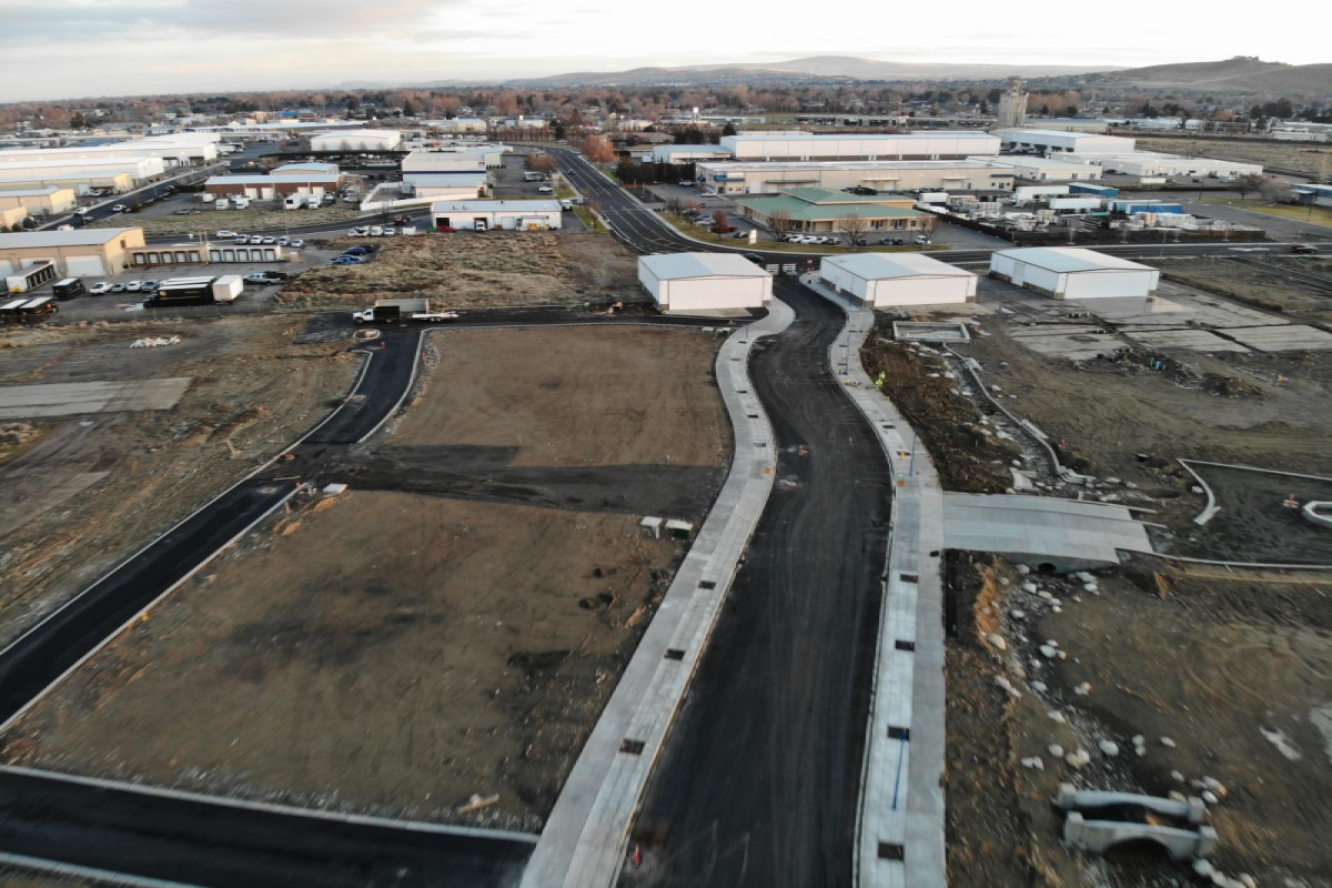 Aerial view of Vista Field Phase One construction.
