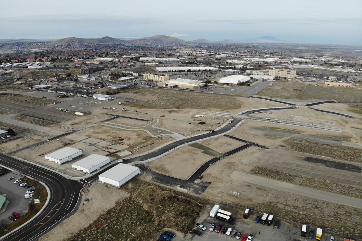 Aerial of Vista Field phase one construction.