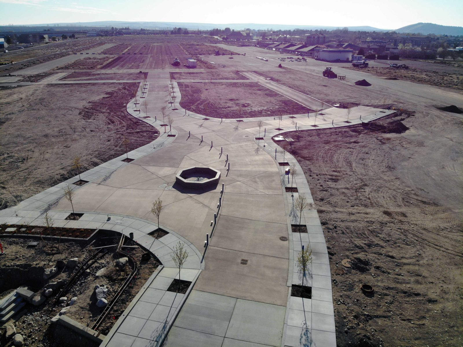 Aerial view of Vista Field Phase One foundation and sidewalks construction.