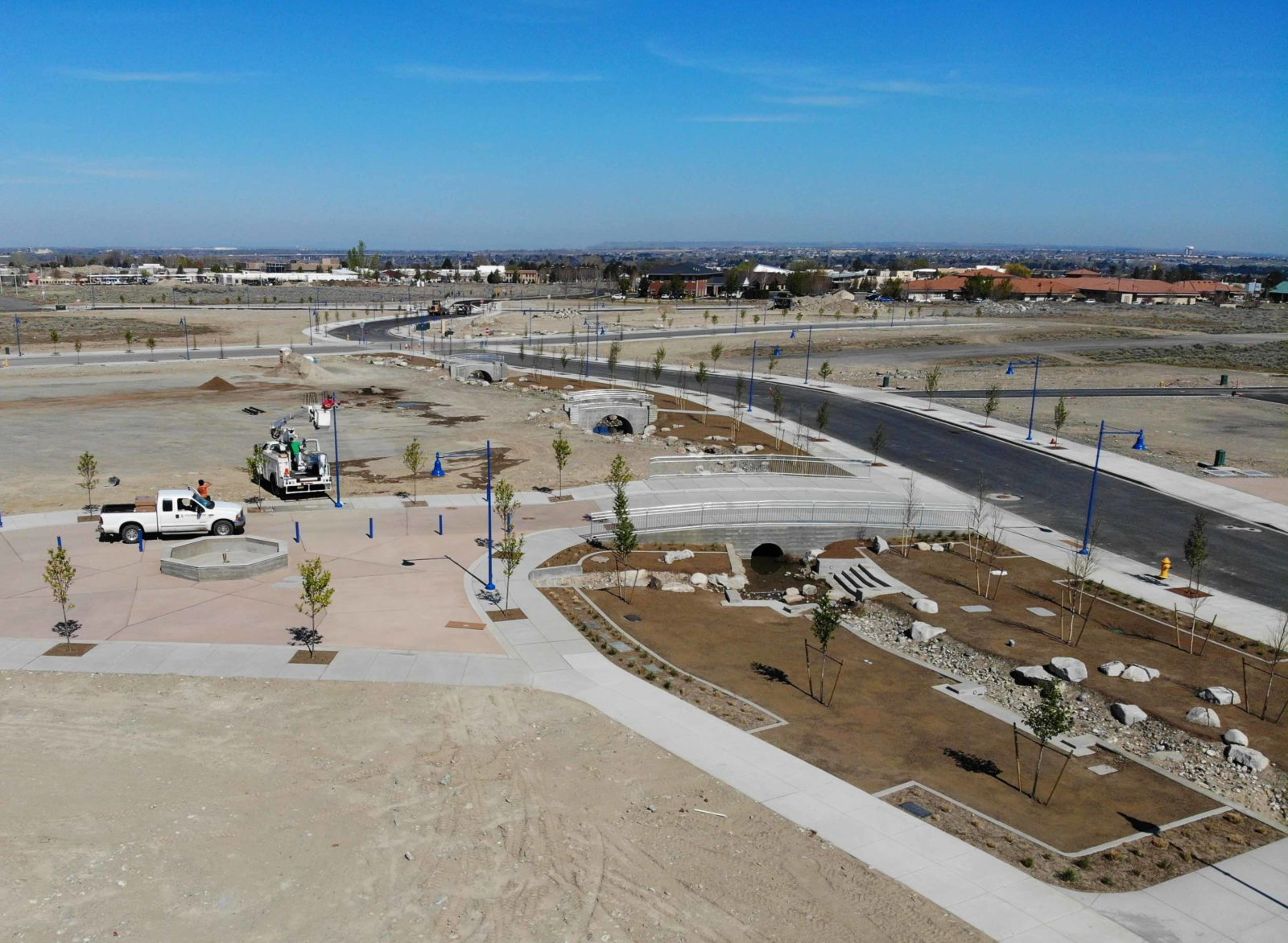 Aerial of Vista Field phase one bridges construction near completion.