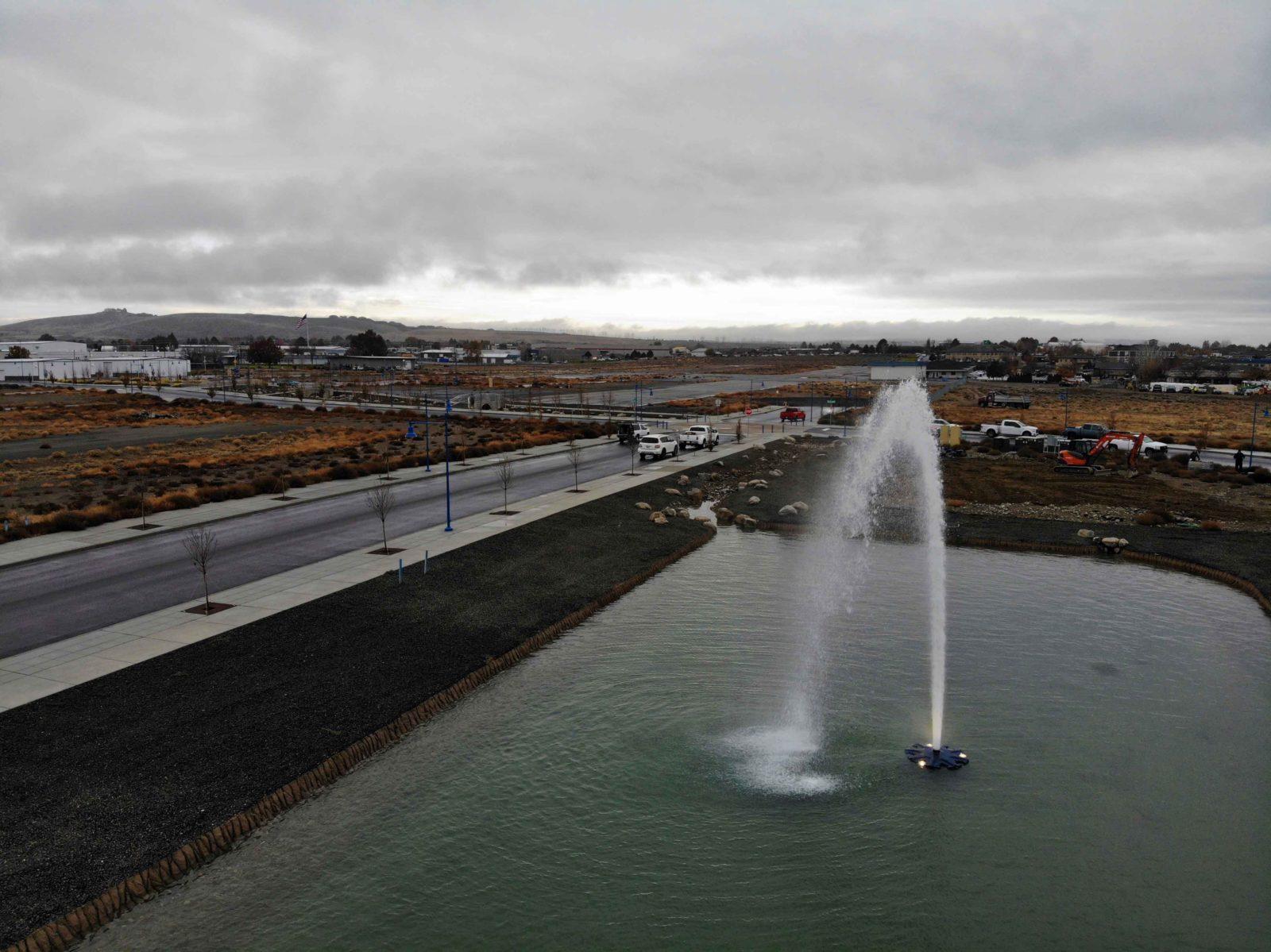 Crews test a Vista Field fountain.