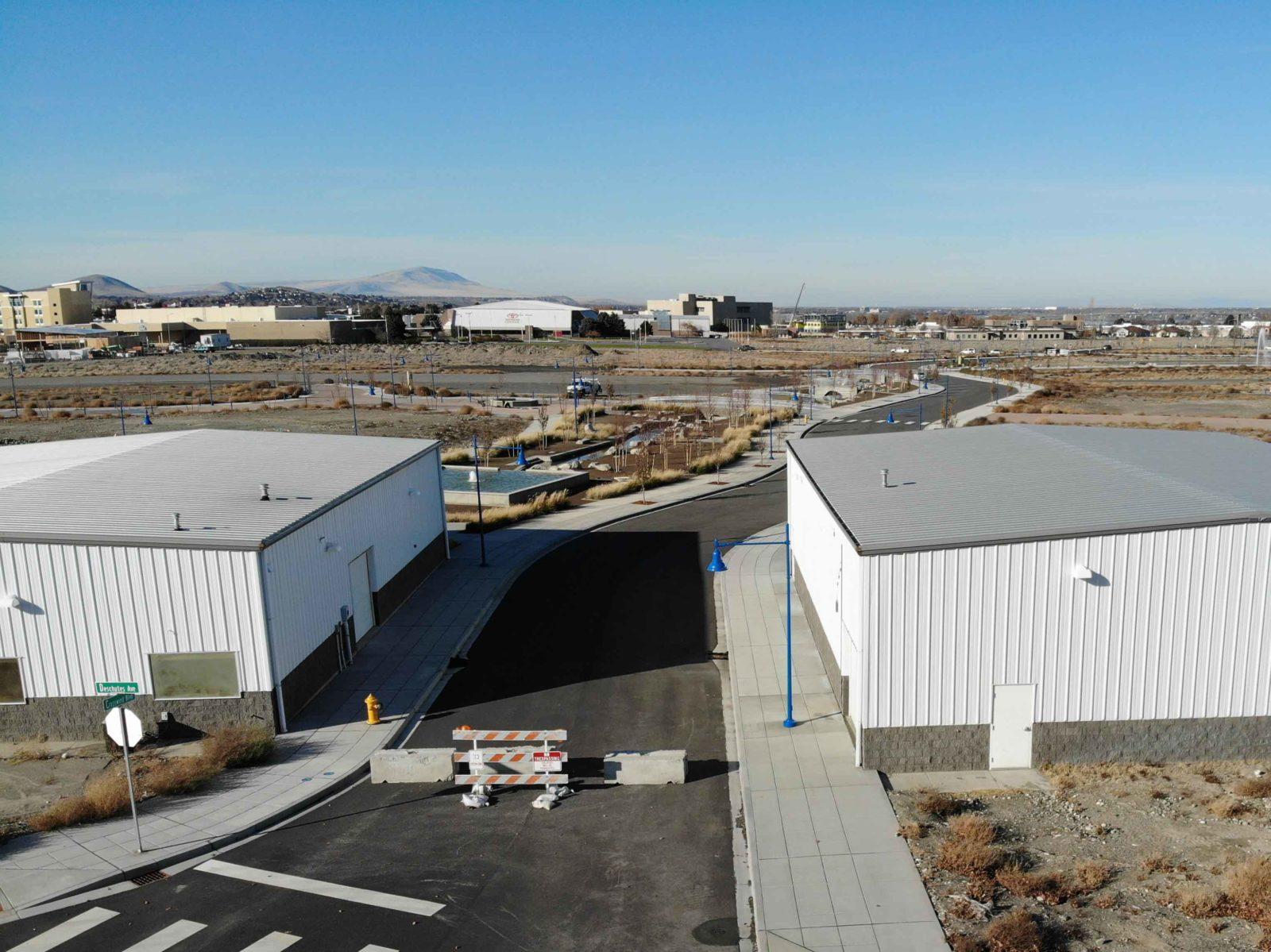 An aerial showing the new Crosswind Blvd installed across Vista Field.