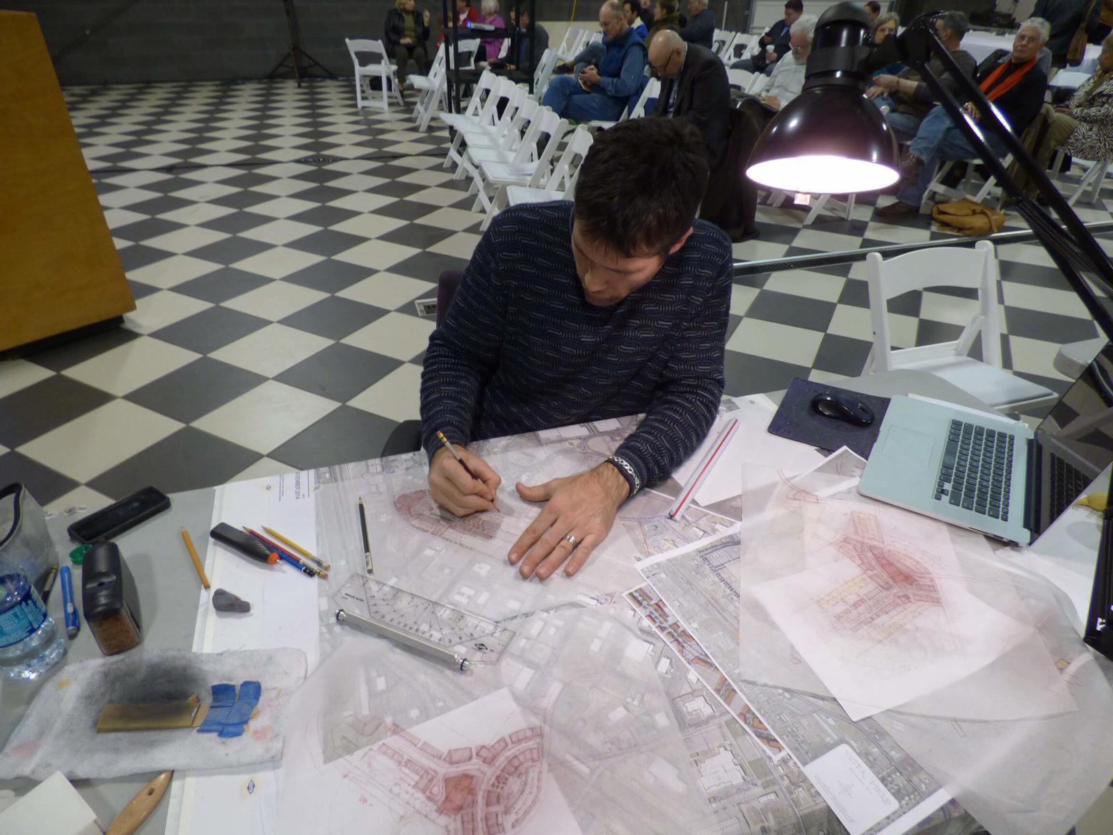 DPZ staff works on engineered designs at Vista Field Charrette.